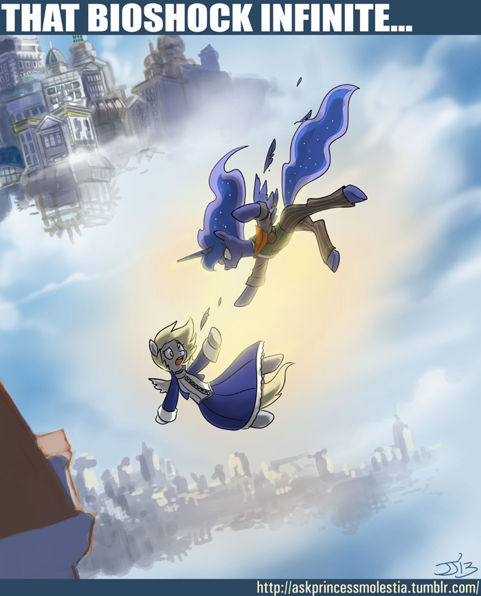e621 bioshock bioshock_infinite blonde_hair blue_feathers blue_hair crossover derpy_hooves_(mlp) duo english_text equine falling feathered_wings feathers female friendship_is_magic grey_feathers hair horn john_joseco long_hair mammal midair my_little_pony pegasus princess_luna_(mlp) text video_games winged_unicorn wings