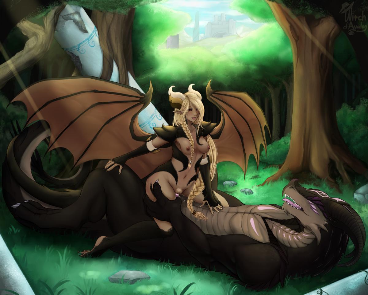 Woman having sex with dragon
