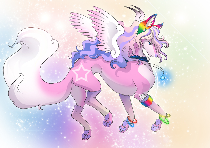 Pink Wolf With Wings