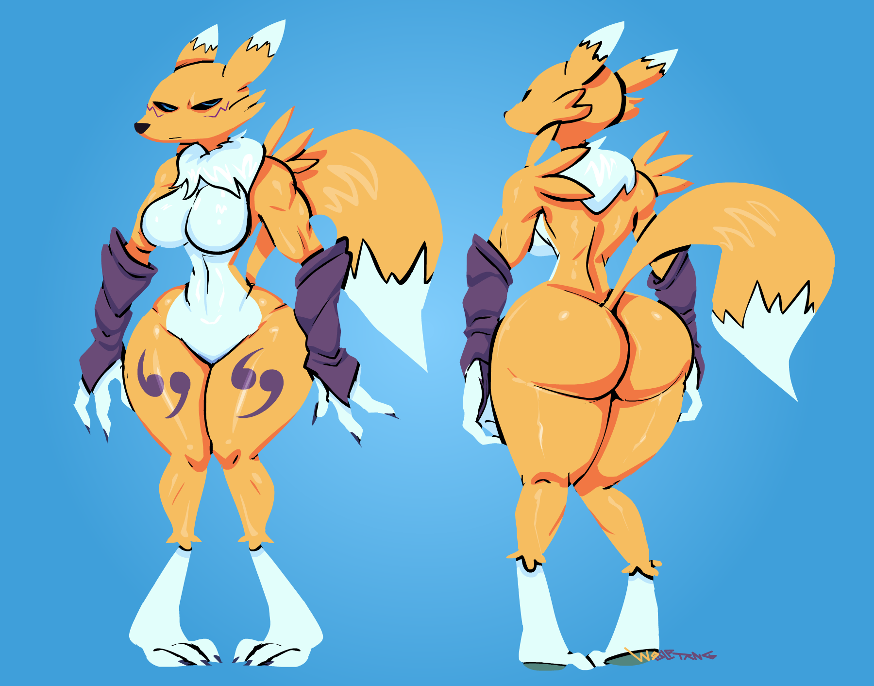 e621 2017 angry angry_face anthro athletic big_breasts big_butt black_nose black_sclera blue_background blue_eyes breasts butt canine chest_tuft claws digimon digital_media_(artwork) dipstick_tail facial_markings featureless_breasts featureless_crotch female front_view fur hi_res looking_at_viewer mammal markings midriff mostly_nude multicolored_fur multicolored_tail muscular navel nude rear_view renamon simple_background sleeves standing thick_thighs tuft two_tone_fur under_boob voluptuous white_fur white_tail wide_hips wolftang yellow_fur yellow_tail