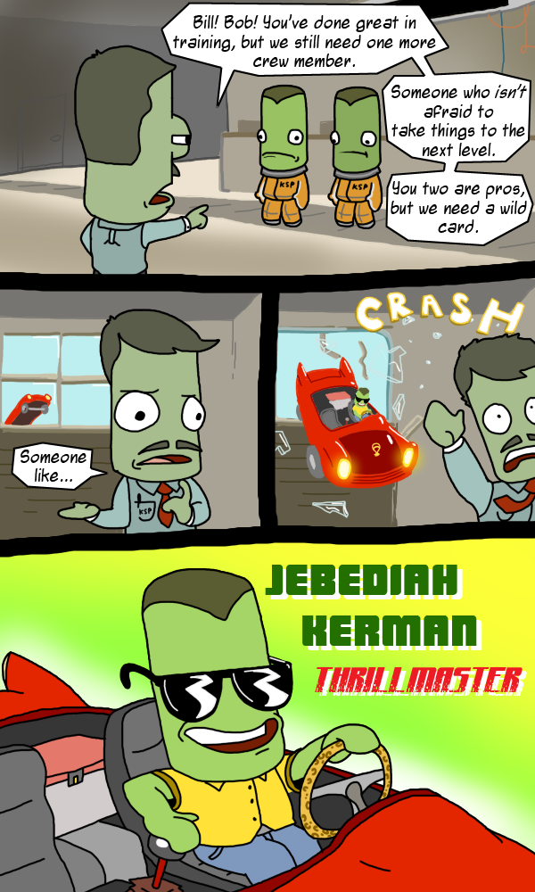 e621 alien bill_kerman bob_kerman car comic crash eyewear glass jebediah_kerman kerbal kerbal_space_program male sunglasses unknown_artist vehicle