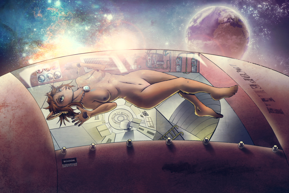 e621 breasts female locopelli nude solo space spacecraft spacescape unknown_species vehicle zero_gravity