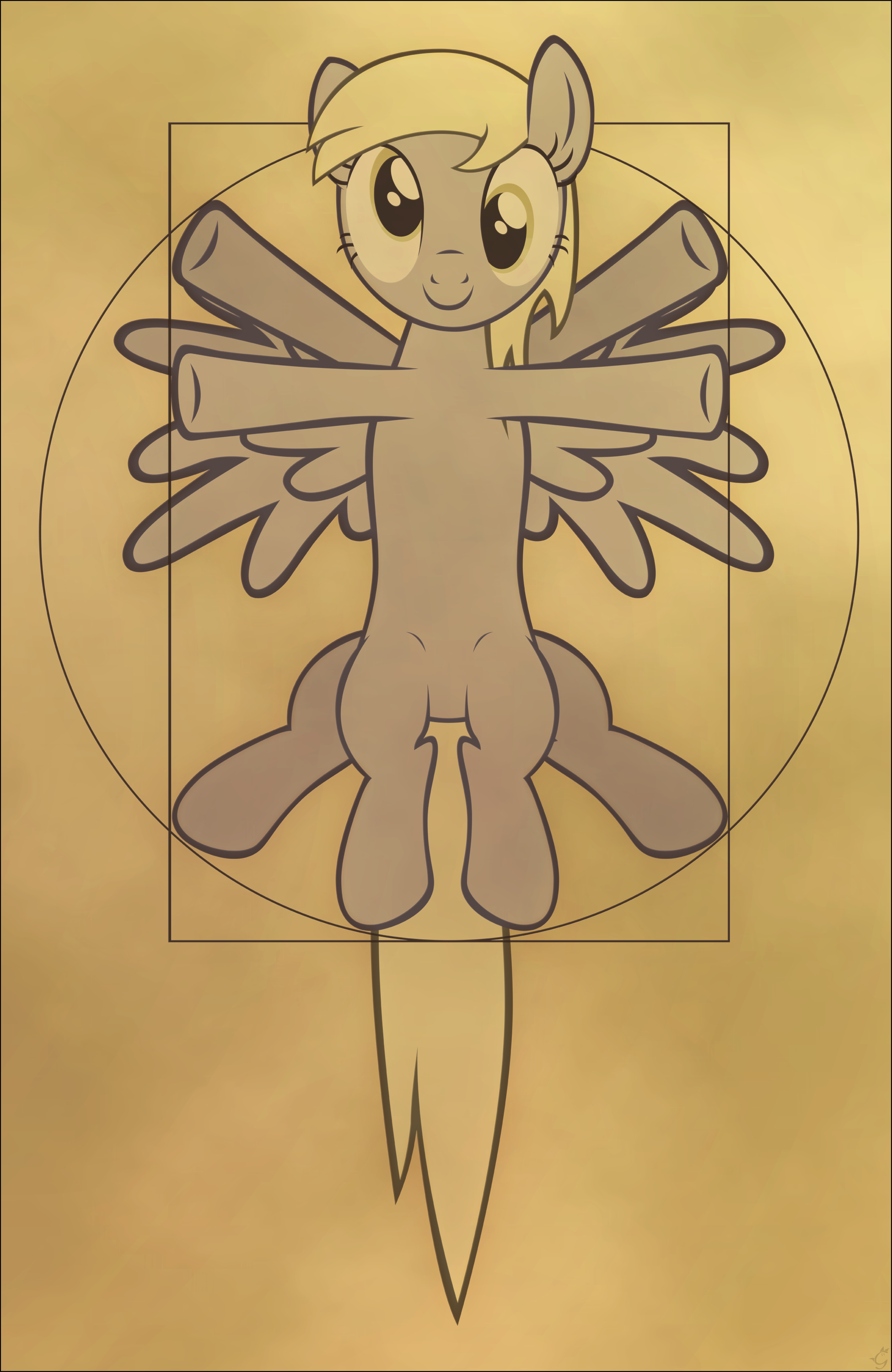 e621 2012 absurd_res derpy_hooves_(mlp) equine feathered_wings feathers female feral friendship_is_magic grey_feathers hi_res looking_at_viewer mammal my_little_pony pegasus solo stinkehund vitruvian_man wings