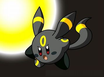 e621 crossover eeveelution hybrid kirby kirby_(series) nintendo pokémon red_eyes solo umbreon video_games