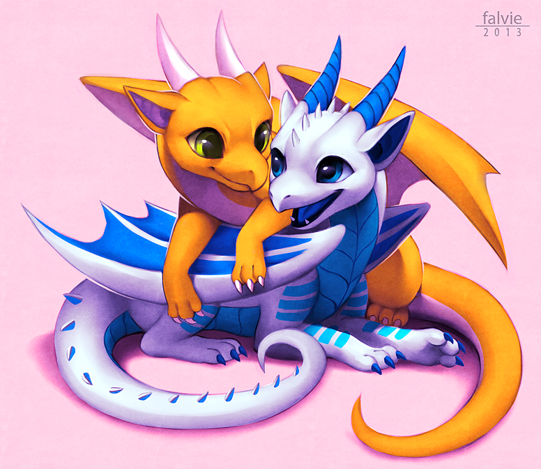 e621 2013 blue_eyes byzil chibi cub cute digital_media_(artwork) dragon duo falvie female feral feral_on_feral green_eyes happy hatchling horn kicks male membranous_wings open_mouth orange_body scalie simple_background spikes white_body wings yellow_eyes young