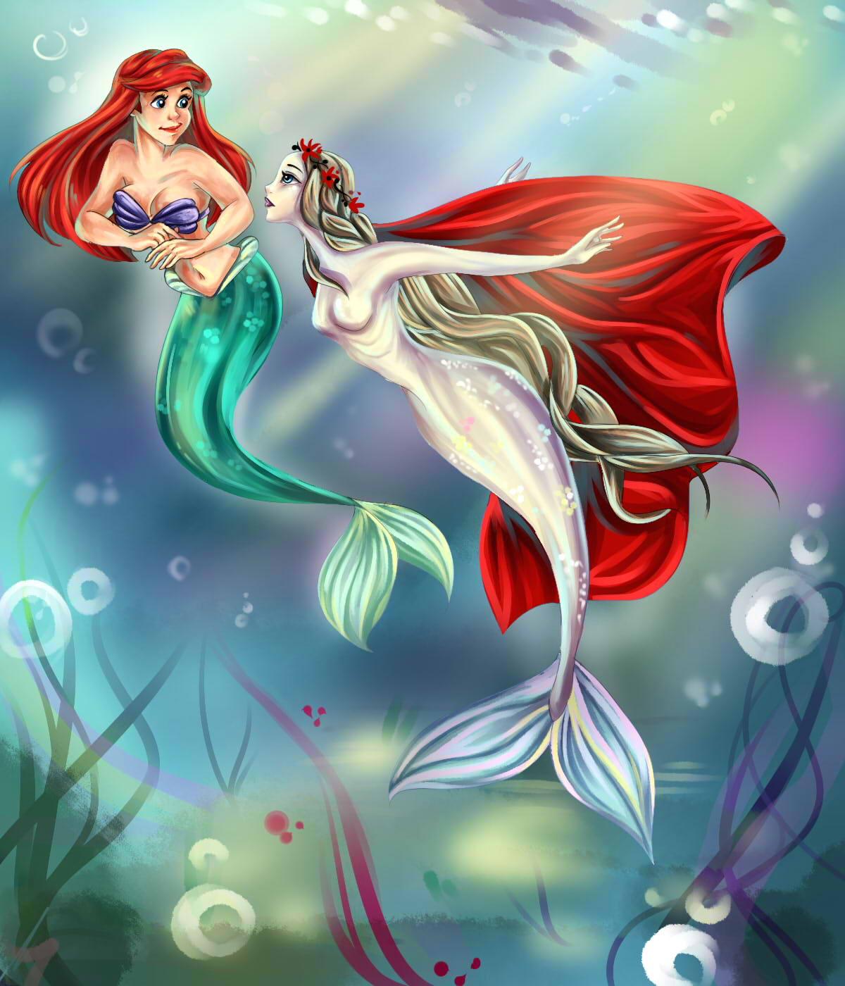 Blonde Hair Mermaid With Blue Tail Underwater Art: #657108: Nogicu