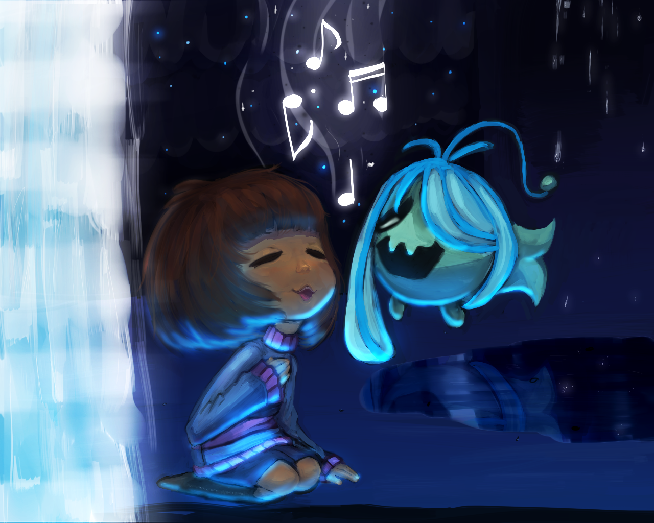 undertale frisk in waterfall - photo #18