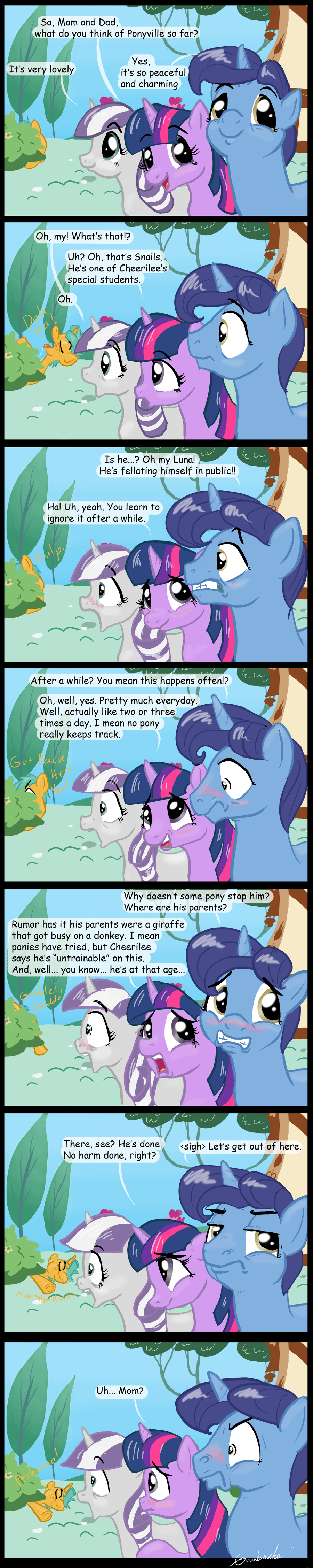 e621 absurd_res blush comic equine female feral friendship_is_magic fur gavalanche hair hi_res horn male mammal multicolored_hair my_little_pony night_light_(mlp) parent plant purple_fur purple_hair shocked shrub snails_(mlp) stare twilight_sparkle_(mlp) twilight_velvet_(mlp) two_tone_hair unicorn