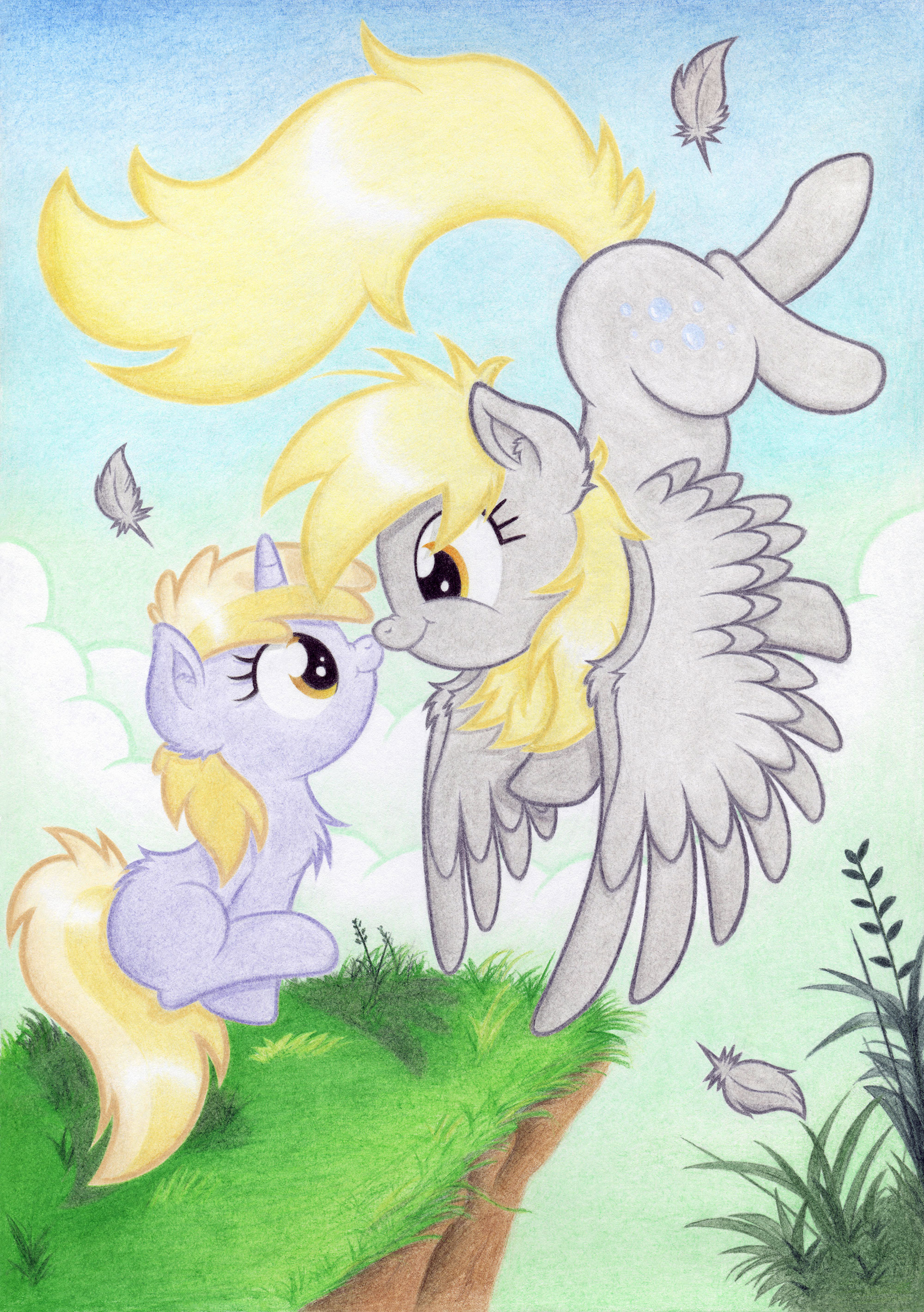 e621 2013 absurd_res agamnentzar amber_eyes blonde_hair boop cloud cub cute cutie_mark day derpy_hooves_(mlp) dinky_hooves_(mlp) duo equine face_to_face feathered_wings feathers female feral flying friendship_is_magic fur grass grey_fur hair hi_res horn mammal my_little_pony outside pegasus sitting sky smile unicorn wings yellow_eyes young