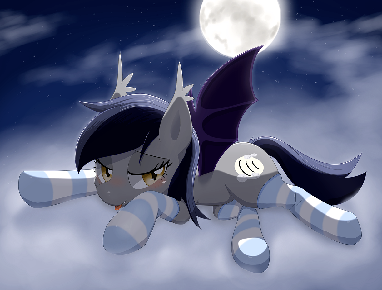 e621 aymint bat_pony bat_wings bedroom_eyes blush clothing cloud cloudscape cool_colors cutie_mark echo_(zee66) equine fan_character fangs female feral full_moon hair half-closed_eyes horse legwear looking_at_viewer lying mammal membranous_wings moon my_little_pony night outside seductive sky smile socks solo spread_legs spreading star stockings thestral tongue tongue_out wings yellow_eyes