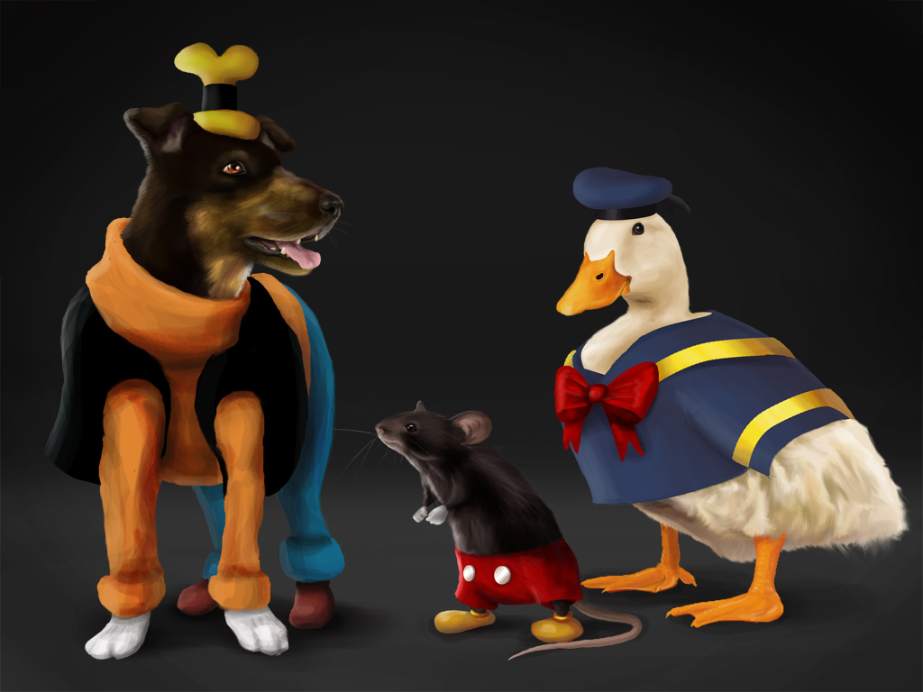 e621 4:3 all_fours ambiguous_gender anthro avian bird black_eyes black_fur bottomless bow bow_tie brown_eyes canine clothed clothing disney dog donald_duck duck elizabeth_hentze feathers feral feralized fluffy footwear fur gloves goofy_(disney) group hat male mammal mickey_mouse mouse open_mouth realistic ribbons rodent sailor_hat sailor_uniform shoes standing the_truth tongue tongue_out topless white_feathers