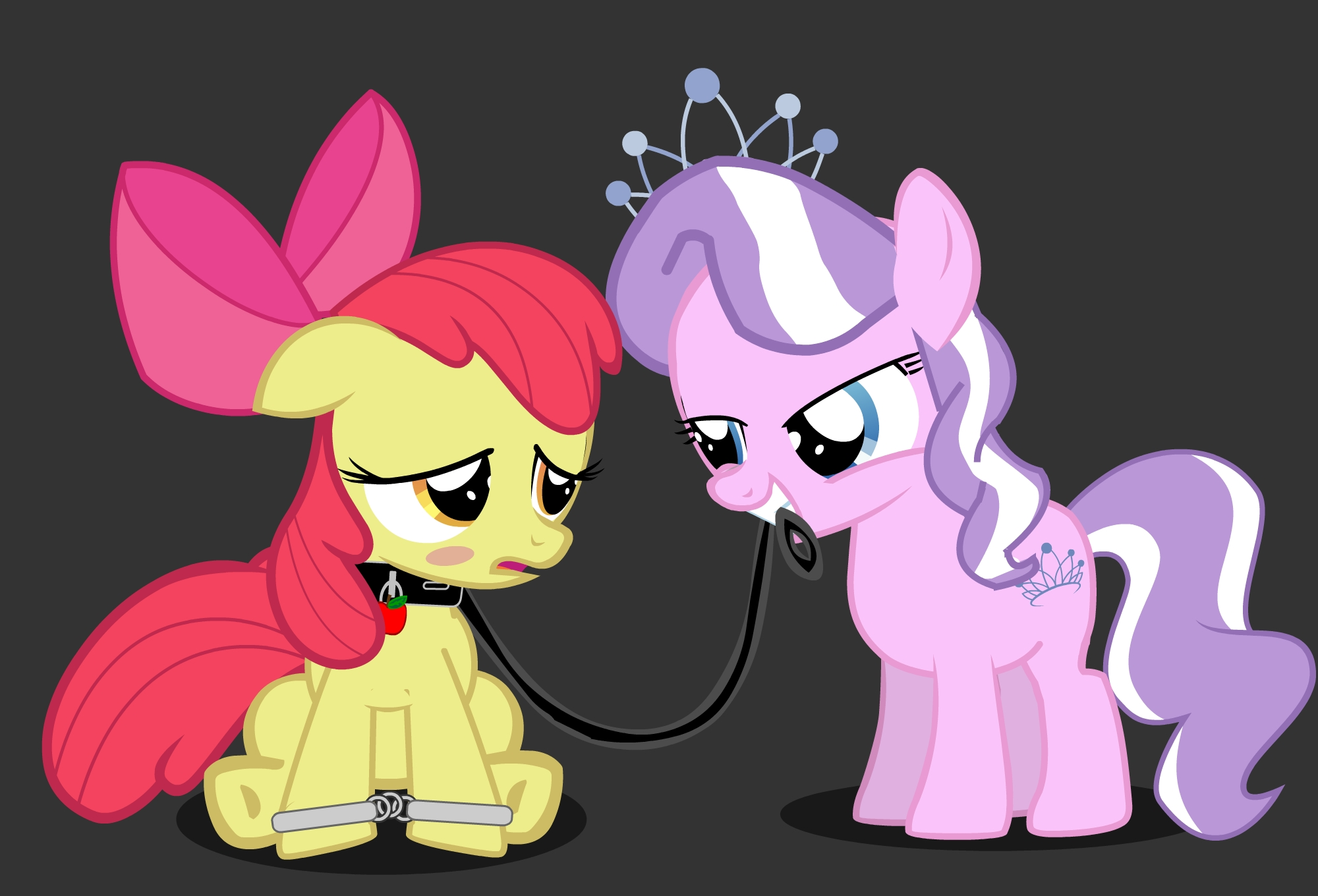 e621 apple_bloom_(mlp) blush collar cub cuffs cutie_mark diamond_tiara_(mlp) duo equine female feral friendship_is_magic handcuffs hi_res horse leash mammal my_little_pony pony ruxify shackles young