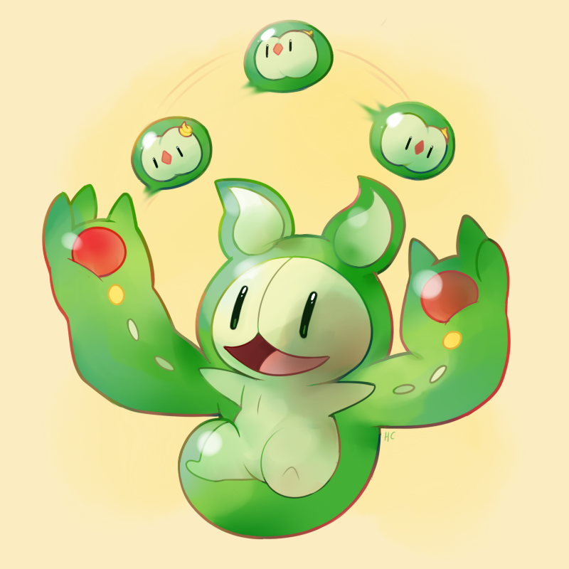 e621 2013 3_fingers :o ambiguous_gender cute green_body green_eyes group happy happycrumble juggling nintendo open_mouth open_smile pokémon pokémon_(species) reuniclus simple_background smile solosis video_games