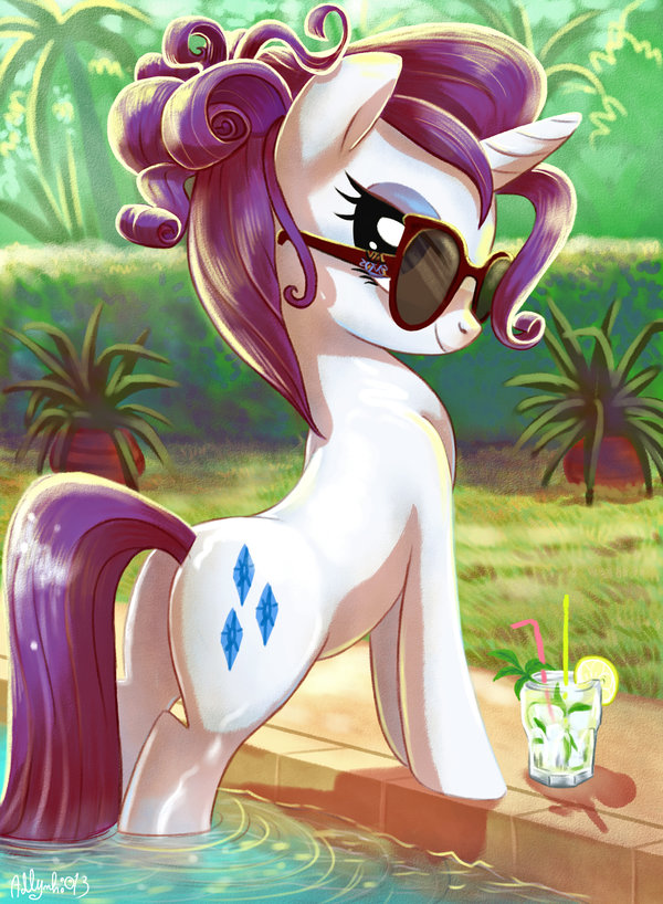 e621 2013 adlynh beverage butt curly_hair cutie_mark equine eyewear female feral food friendship_is_magic fur glasses hair horn looking_at_viewer mammal my_little_pony outside pinup pose purple_hair rarity_(mlp) smile solo swimming_pool unicorn water wet white_fur