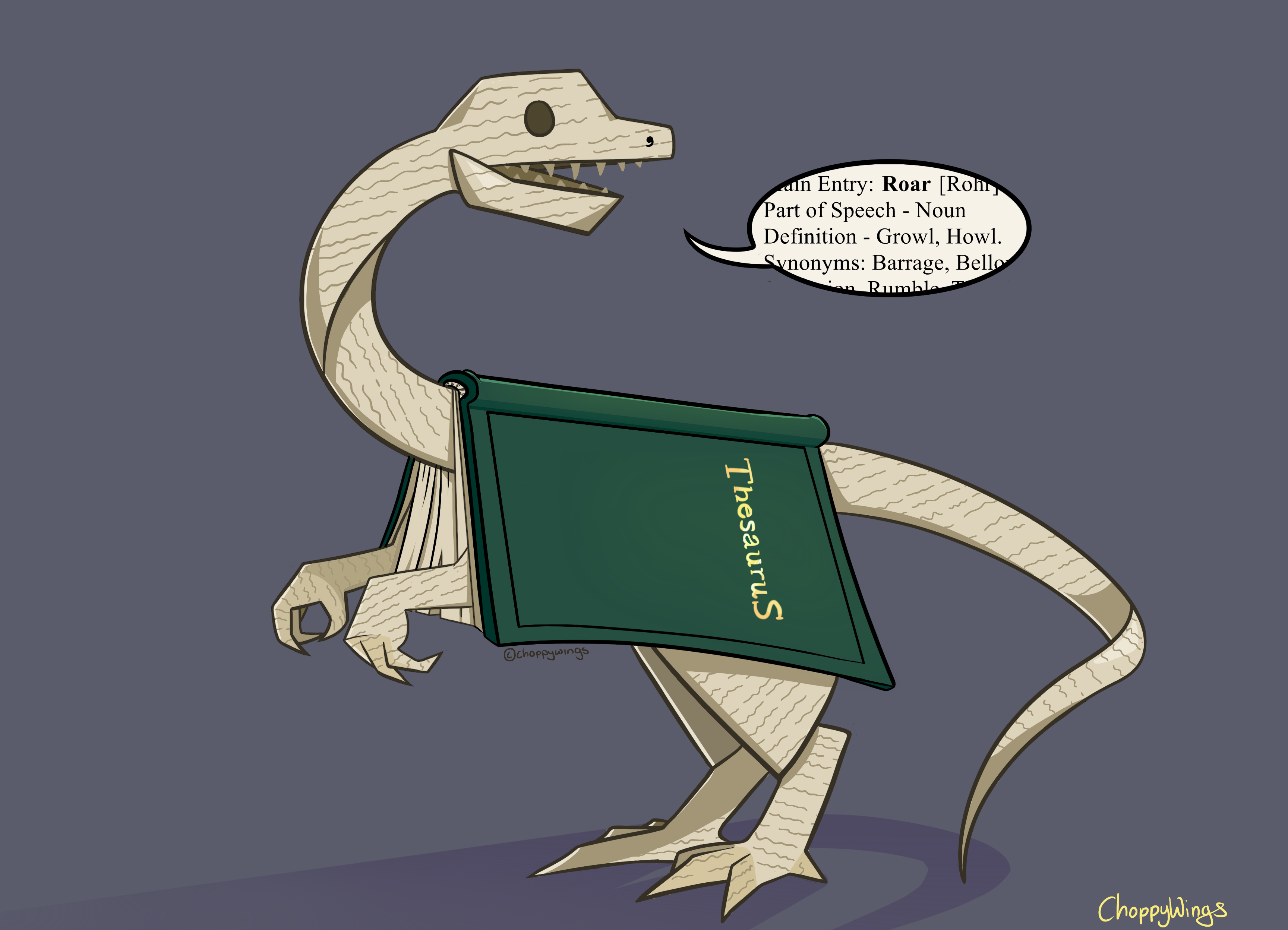 e621 2013 absurd_res ambiguous_gender book brown_eyes choppywings clever dialogue dinosaur english_text feral hi_res humor monster paper pun scalie sharp_teeth simple_background solo teeth text thesaurus