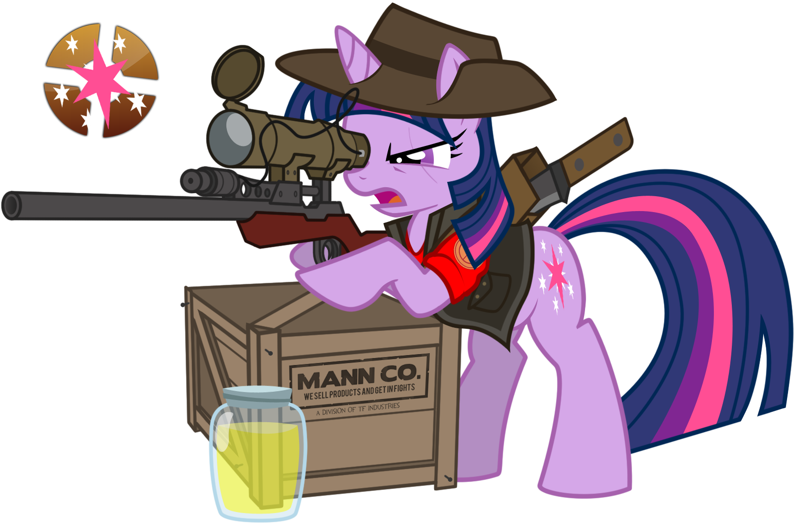 e621 box cosplay crossover cutie_mark equine female feral friendship_is_magic fur gun hair hat horn jar jarate knife mammal multicolored_hair my_little_pony purple_fur purple_hair ranged_weapon rifle sniper sniper_(team_fortress_2) sniper_rifle team_fortress_2 twilight_sparkle_(mlp) two_tone_hair unicorn unknown_artist valve video_games weapon