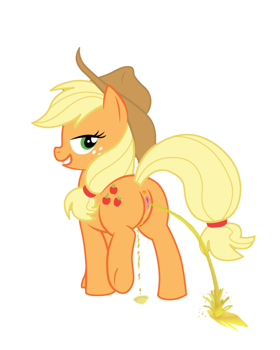 e621 2012 alpha_channel anus applejack_(mlp) blonde_hair cutie_mark equine female feral friendship_is_magic green_eyes hair hat horse my_little_pony peeing plain_background pony pussy raised_tail solo transparent_background urine watersports