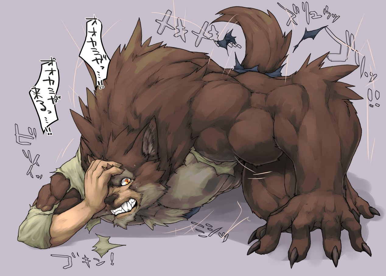 e621 2017 5_fingers abs arm_support barefoot biceps big_muscles black_claws brown_fur canine captainjohkid claws clenched_teeth clothed clothing crouching digital_media_(artwork) fangs flakjacket0204 fur grey_background growth hand_on_head hi_res human human_to_anthro japanese_text looking_at_self lying male mammal multicolored_fur muscle_growth muscular muscular_male on_front orange_eyes partially_clothed pecs sharp_teeth shirt simple_background solo sweat tail_growth tears teeth text torn_clothing transformation translated two_tone_fur were werewolf