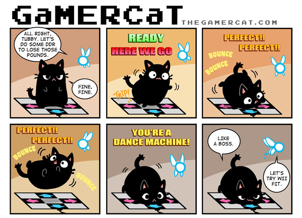 e621 ambiguous_gender black_fur cat celesse comic cute dance_dance_revolution dancing ddr dialogue english_text fairy feline fur gamercat_(character) like_a_boss mammal navi nintendo overweight samantha_whitten slightly_chubby text the_gamercat the_legend_of_zelda video_games