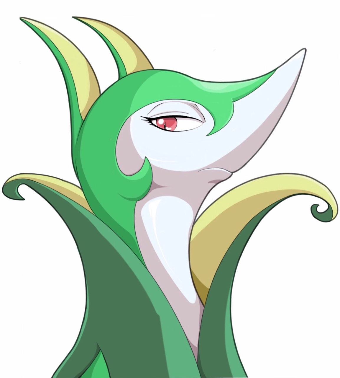 e621 ambiguous_gender feral hi_res hurikata looking_at_viewer nintendo pokémon red_eyes serperior simple_background slit_pupils solo video_games