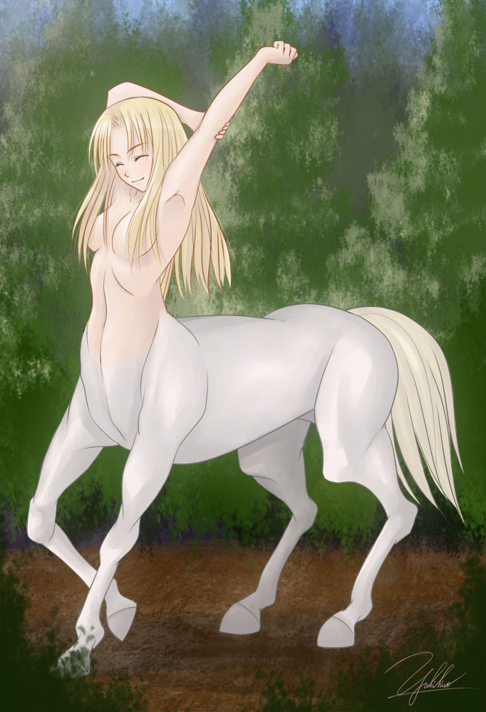 e621 blonde_hair breasts centaur equine female fur hair hooves horse human mammal nude solo stretching taur white_fur