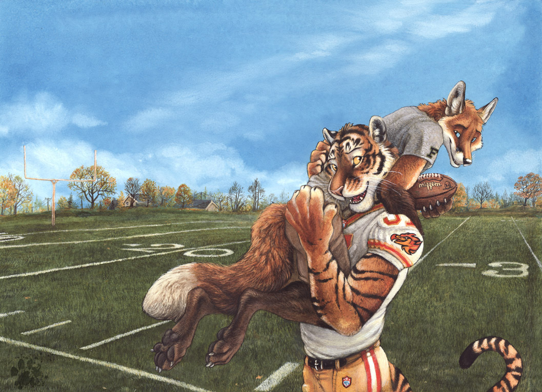 e621 2008 american_football anthro blotch canine carrying clothing cloud cuddling devlin_miski duo feline firebirds fox grass hindpaw kyell_gold love male mammal out_of_position outside paws romantic_couple sky sport tiger wiley_farrel