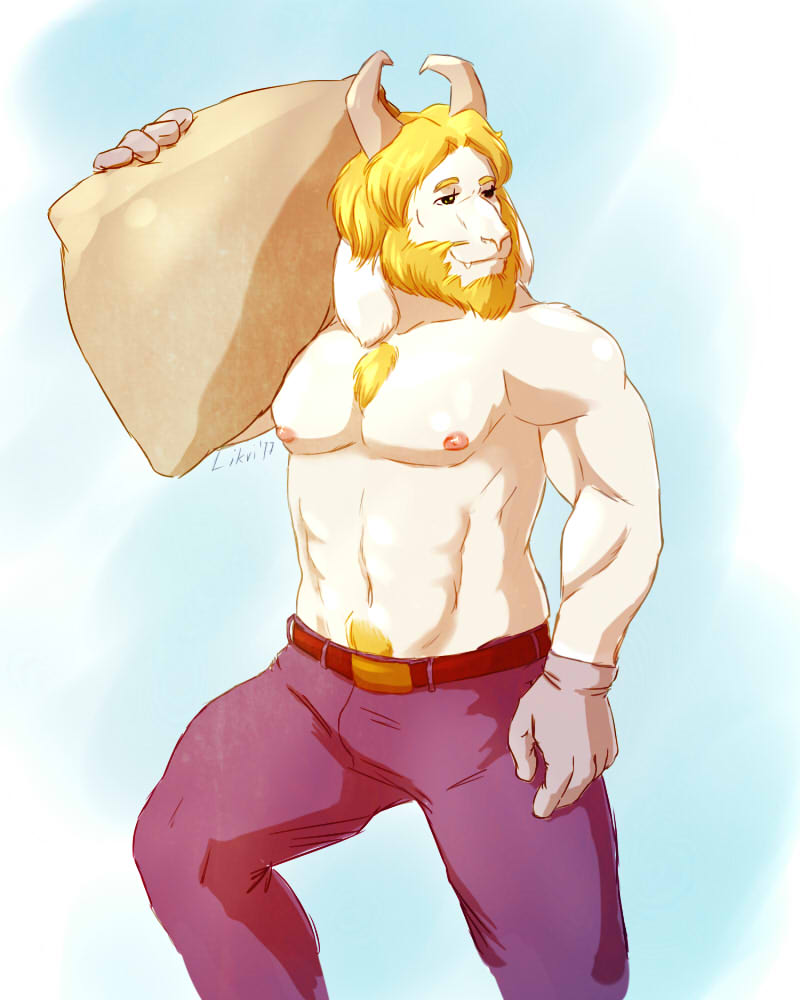 e621 2017 anthro asgore_dreemurr beard biceps body_hair boss_monster caprine chest_hair chest_tuft clothed clothing digital_media_(artwork) facial_hair fur gloves goat hair horn likri male mammal muscular muscular_male nipples pecs pubes simple_background solo standing topless tuft undertale video_games white_fur
