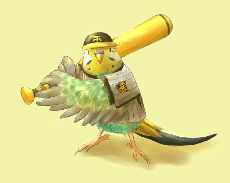 e621 ambiguous_gender avian baseball_bat baseball_cap baseball_uniform beak bird bottomless budgerigar clothed clothing cute feline feral hanshin_tigers hat humor mammal nippon_professional_baseball parakeet parrot solo sparkle stripes tiger uniform yoshiyanmisoko