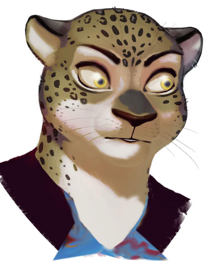 e621 ambiguous_gender anthro crazy_eyes disney edit erudier fabienne_growley feline fur leopard mammal portrait reaction_image simple_background solo spots whiskers zootopia