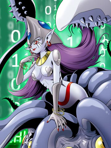 e621 blue_skin bracelet breasts calmaramon cephalopod clothed clothing digimon ear_piercing female green_background hair jewelry piercing plain_background purple_hair red_eyes skimpy solo squid unknown_artist