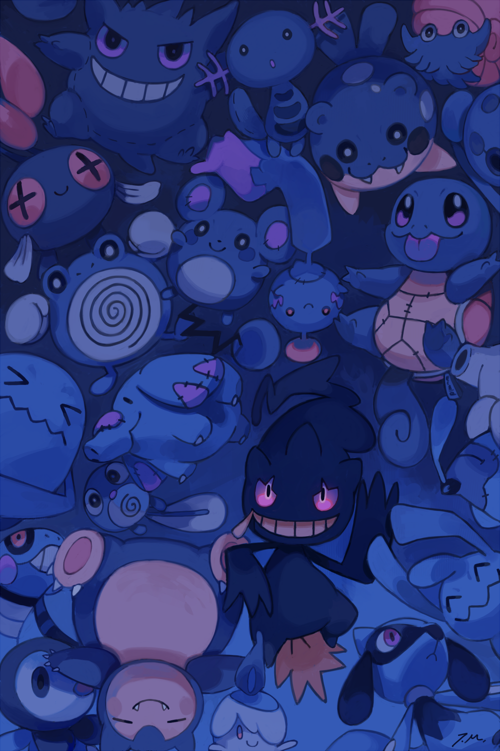 e621 ambiguous_gender azurill banette blue_theme bluekomadori body_zipper canine chimecho chinchou croagunk cubchoo doll feral gengar ghost group hi_res large_group legendary_pokémon litwick looking_at_viewer lying mammal mouth_zipper nintendo omanyte phanpy phione piplup pokémon poliwag poliwhirl red_eyes riolu smile snorlax spheal spirit squirtle video_games wobbuffet wooper wynaut zipper