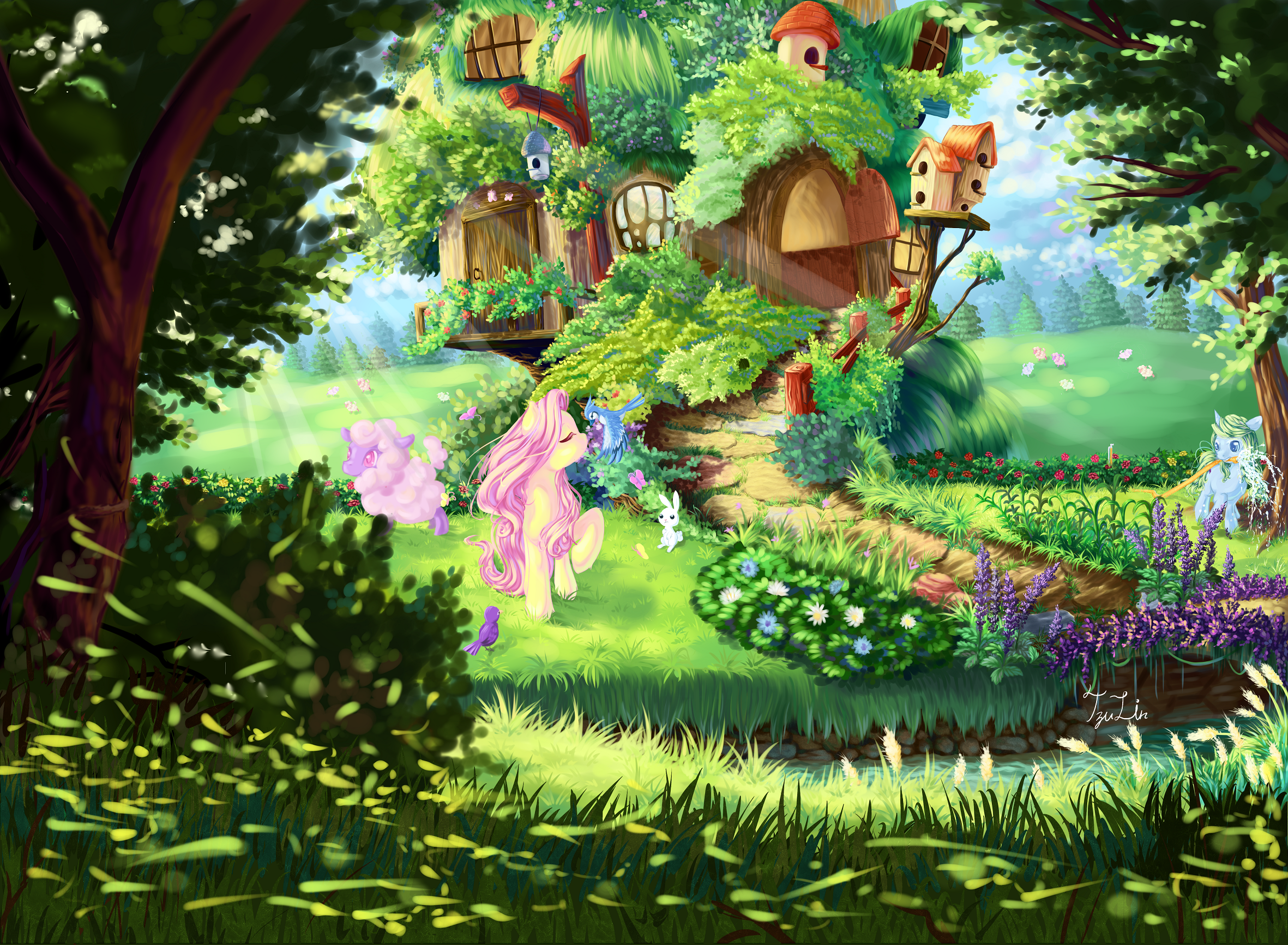 e621 amazing_background ambiguous_gender blue_eyes blue_feathers blue_fur bridge building creek detailed_background earth_pony equine eyes_closed fan_character feathered_wings feathers female feral flower fluttershy_(mlp) friendship_is_magic fur garden green_hair group hair hi_res horse house mammal my_little_pony nature outside pink_hair plant pony tree_house water window wings yellow_fur 卒凜