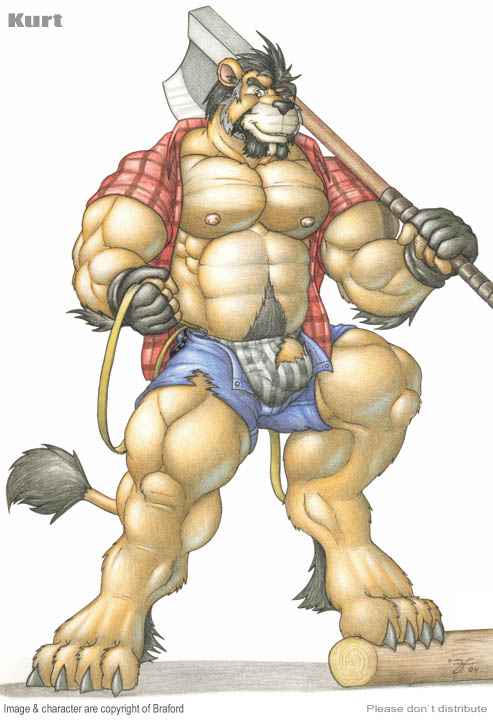 e621 abs anthro axe biceps big_muscles braford bulge claws clothed clothing facial_hair felid flaccid fur holding_object holding_weapon kurt_(braford) lion male mammal melee_weapon musclegut muscular muscular_male nipples open_shirt pantherine pecs penis pubes shirt shorts slightly_chubby solo toe_claws toes topwear torn_clothing underwear vein weapon