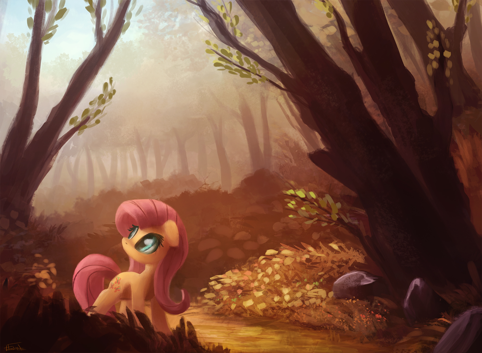 e621 ajvl detailed_background equine feathered_wings feathers female feral fluttershy_(mlp) forest friendship_is_magic hi_res mammal my_little_pony nature outside pegasus solo tree wings yellow_feathers