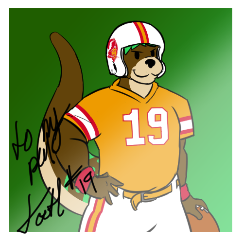 e621 anthro autograph ball buccaneers clefur clothed clothing football_(ball) football_gear football_player male mammal muscular muscular_male mustelid number otter photo solo sport tampa_bay