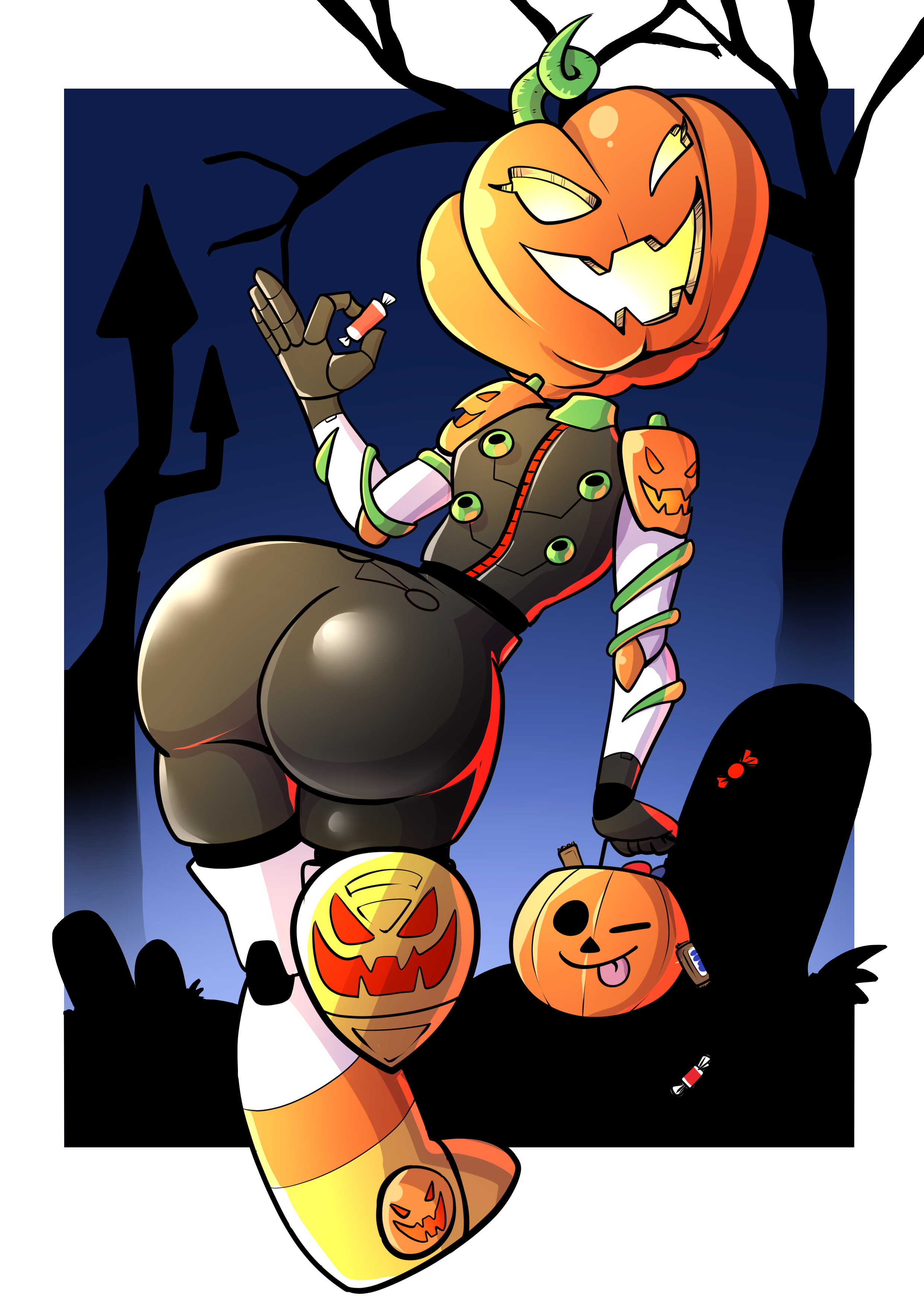 e621 2017 big_butt butt butt_pose candy captainanaugi fan_character female floating_head food fruit graveyard halloween hi_res holidays humanoid looking_at_viewer monster not_furry one_eye_closed pumpkin solo wink