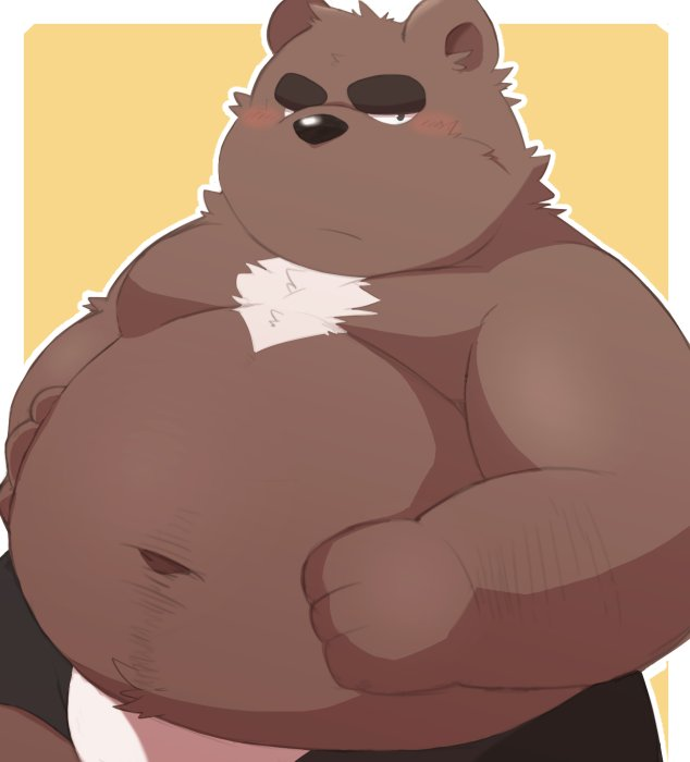 e621 96k-k 96tning anthro bear belly blush clothing male mammal overweight overweight_male simple_background solo underwear