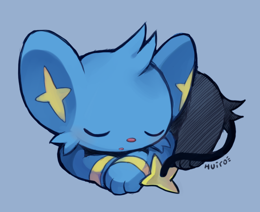 e621 ambiguous_gender blue_background blue_fur cute eyes_closed feline feral fur huiro mammal nintendo pokémon pokémon_(species) shinx simple_background sleeping solo video_games