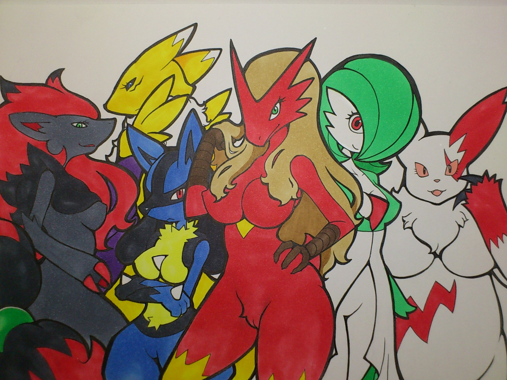 e621 4:3 anthro anthrofied avian bird black_sclera blaziken blue_eyes blue_fur breasts canine claws crossed_arms crossover digimon featureless_breasts female fur gardevoir green_eyes group hair hi_res humanoid kewon lucario mammal nintendo pokémon pokémon_(species) pokémorph pussy red_eyes renamon slightly_chubby traditional_media_(artwork) video_games white_fur wide_hips yellow_fur zangoose zoroark