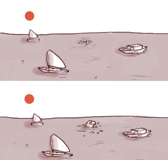 E621 ambiguous_gender barco bolha godzilla_ godzilla bonito (série) iguanamouth fora veleiro scalie céu mar solo de água sol veículo