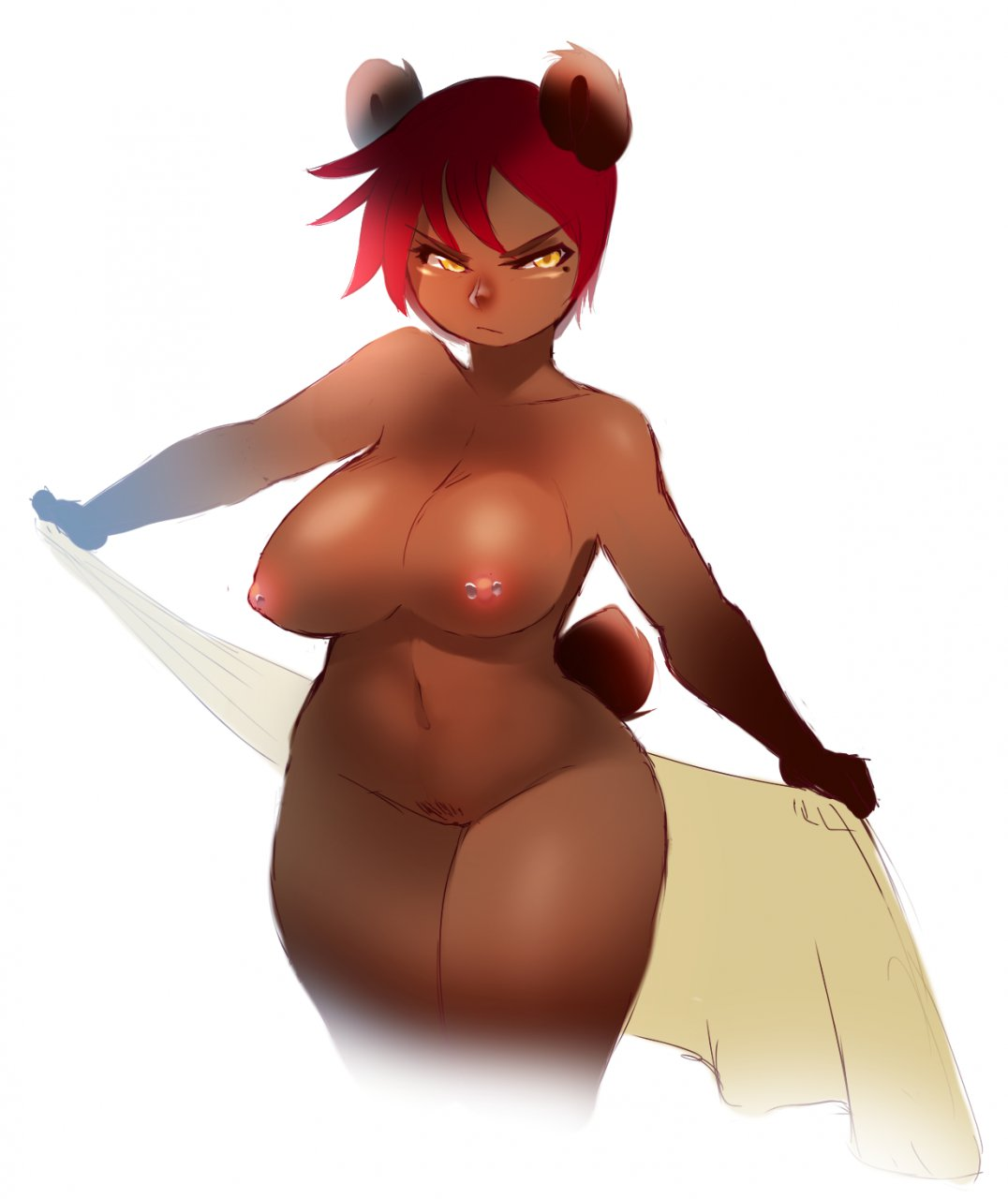 e621 anthro areola bear big_breasts breasts erect_nipples female flat_belly hair hi_res kanel looking_away mammal moxy_(character) natural_breasts nipple_piercing nipples nude piercing pubes pussy red_hair short_hair simple_background solo thick_thighs towel unamused white_background wide_hips yellow_eyes