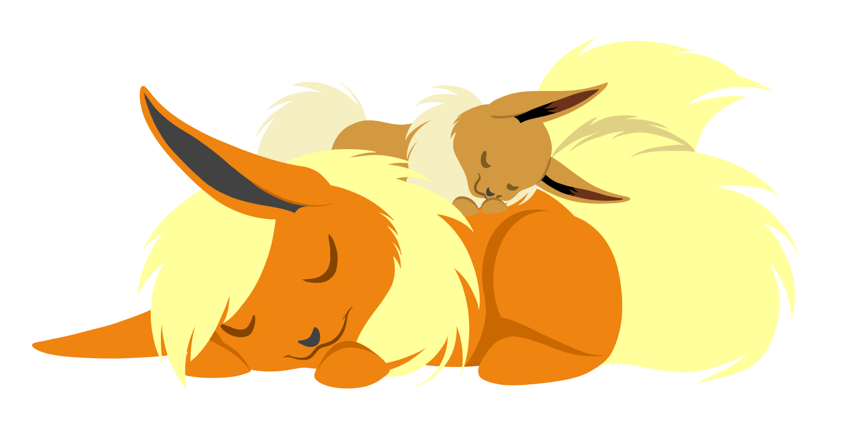 e621 ascar_angainor canine duo eevee eeveelution eyes_closed female feral flareon fox hi_res mammal nintendo pokémon simple_background sleeping video_games