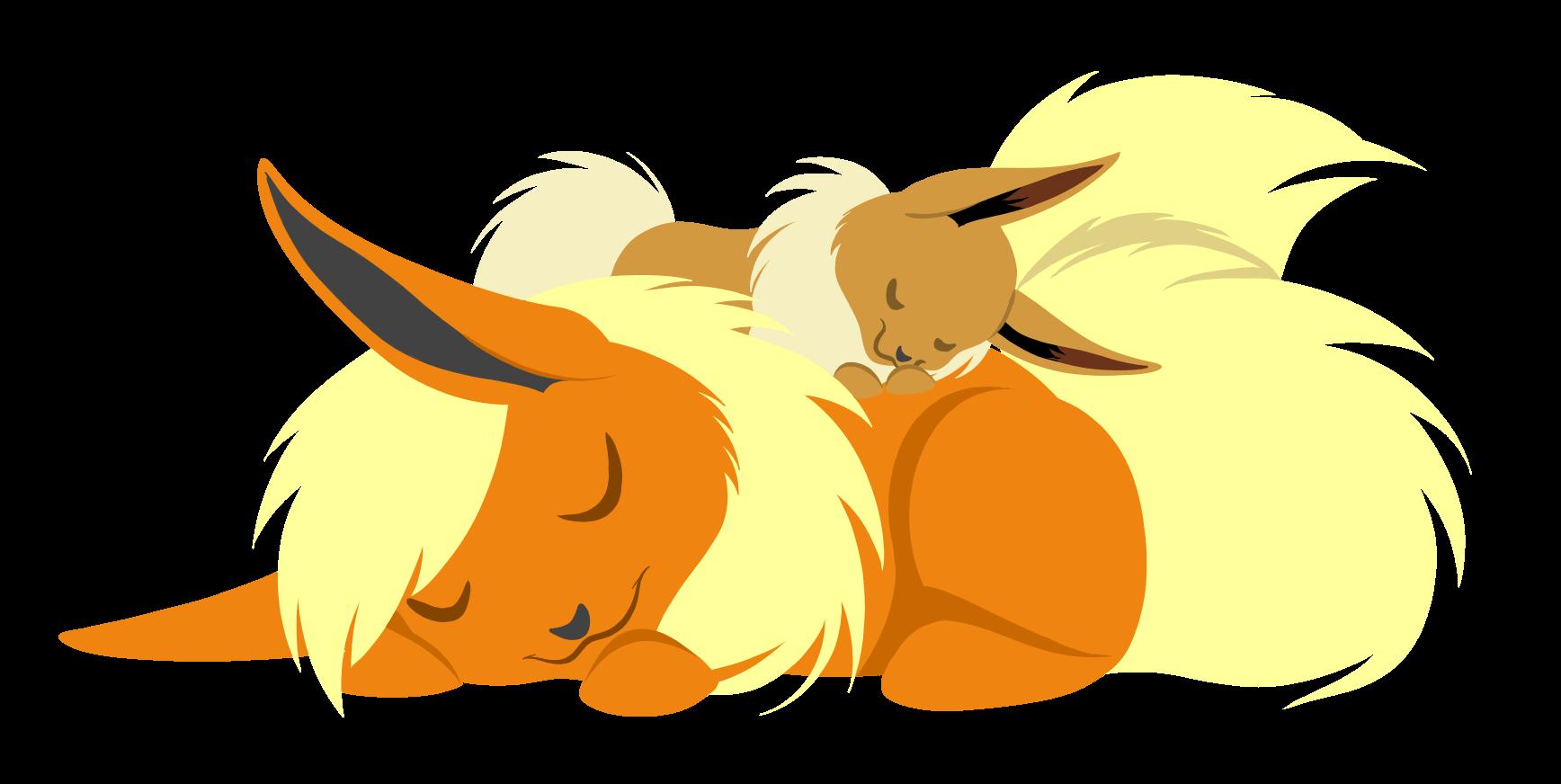 e621 ascar_angainor canine cute duo eevee eeveelution eyes_closed female feral flareon fox hi_res mammal nintendo pokémon simple_background sleeping video_games