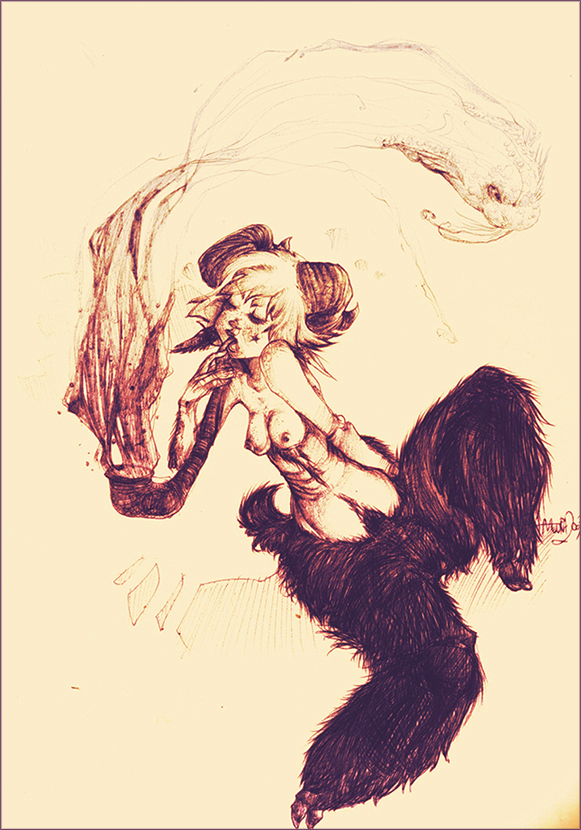 e621 breasts dancing duo female horn humanoid muura nude pipe satyr sketch smoking_pipe traditional_media_(artwork)