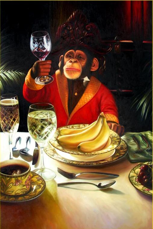 Monkey Holding Wine Glass Painting