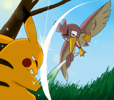 e621 2009 ambiguous_gender attack back_markings beak brown_feathers clenched_teeth digital_drawing_(artwork) digital_media_(artwork) dipstick_ears duo farfetch'd feathers feral fight forehead_marking fur grass holding_object leek low-angle_view low_res markings nintendo oekaki outside pikachu pokémon pokémon_(species) red_cheeks shiny_pokémon signature sklavenbrause sky sparkles tears teeth tree video_games whack yellow_beak yellow_fur