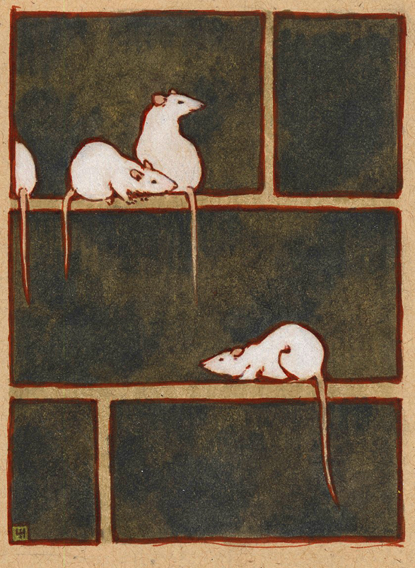 e621 ambiguous_gender black_eyes feral fur grid group looking_back louvelex mammal marker_(artwork) nude paws pink_nose rat rodent traditional_media_(artwork) white_fur