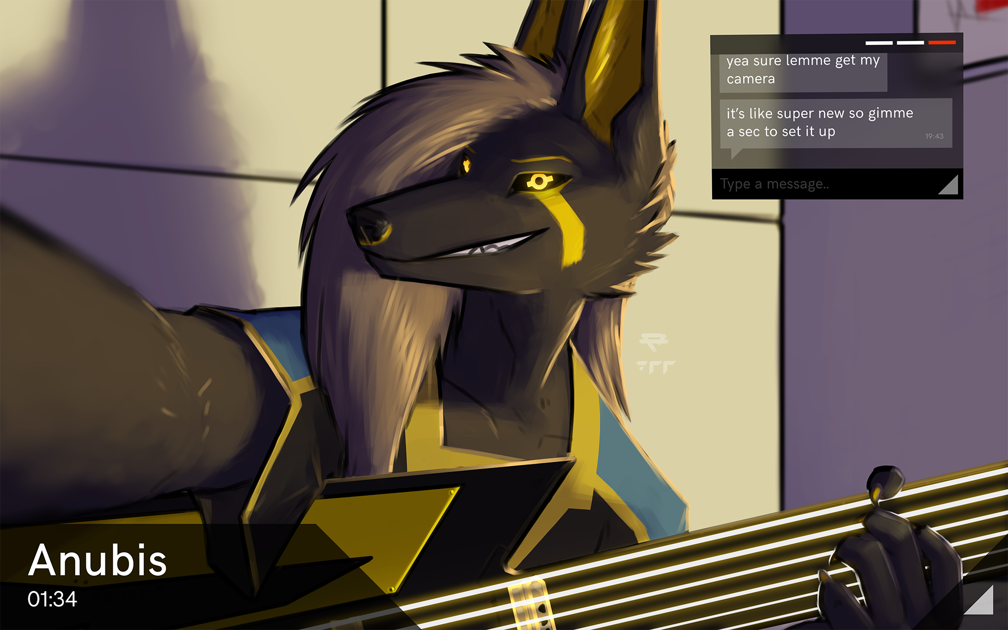 e621 2017 anthro anu anubian_jackal anubis black_fur black_sclera canine claws clothing cybernetics deity digital_media_(artwork) egyptian fur guitar hair hi_res jackal kavaeric looking_at_viewer machine male mammal musical_instrument p700 science_fiction smile solo text user_interface