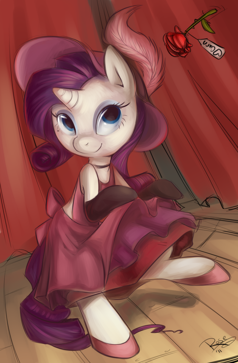 e621 blue_eyes briskby burlesque curtains equine female flower friendship_is_magic hair hat hi_res horn long_hair mammal mittens my_little_pony plant purple_hair rarity_(mlp) rose short_hair solo stage unicorn