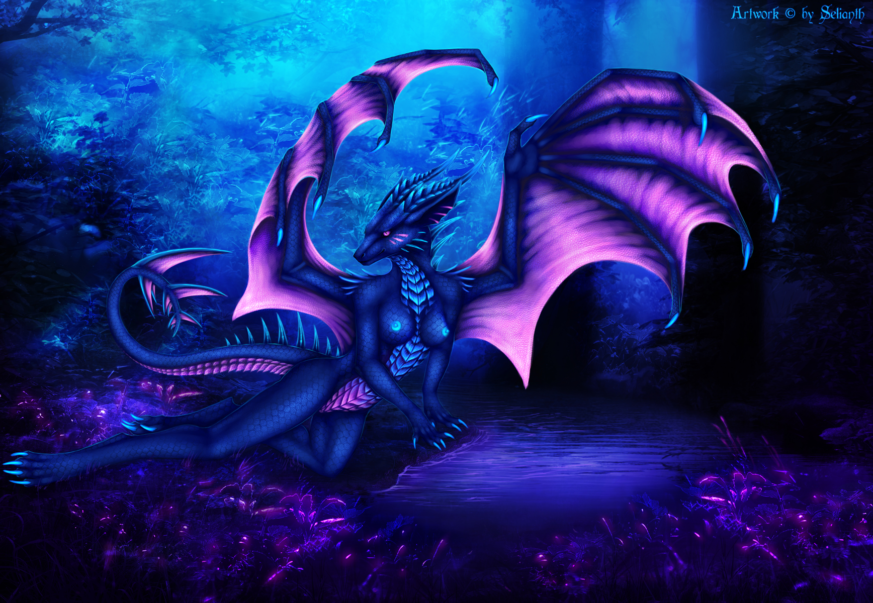 e621 2016 4_toes anthro breasts dragon female forest hi_res horn membranous_wings non-mammal_breasts nude outside purple_eyes scalie selianth selianth_(character) sitting solo toes tree wings